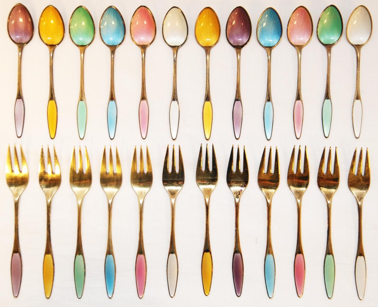24 sterling silver enameled teaspoons and dessert forks. spritzer & fuhrmann. vintage.