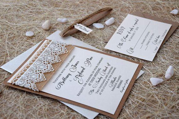 Lace Wedding Invitation Burlap And Lace Wedding Invitation Etsy Etsy Wedding Invitations Wedding Invitations Rustic Nature Wedding Invitations