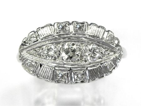 Ladies 14kt white gold diamond estate ring. Ring contains 11 round cut diamonds weighing a total of approximately .50ct.