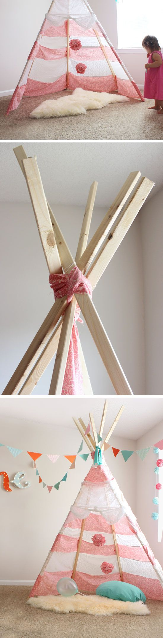 $30 DIY No Sew Teepee | Click Pic for 20 DIY Decorating Ideas for Girls Room | DIY Bedroom Decorating Ideas for Girls