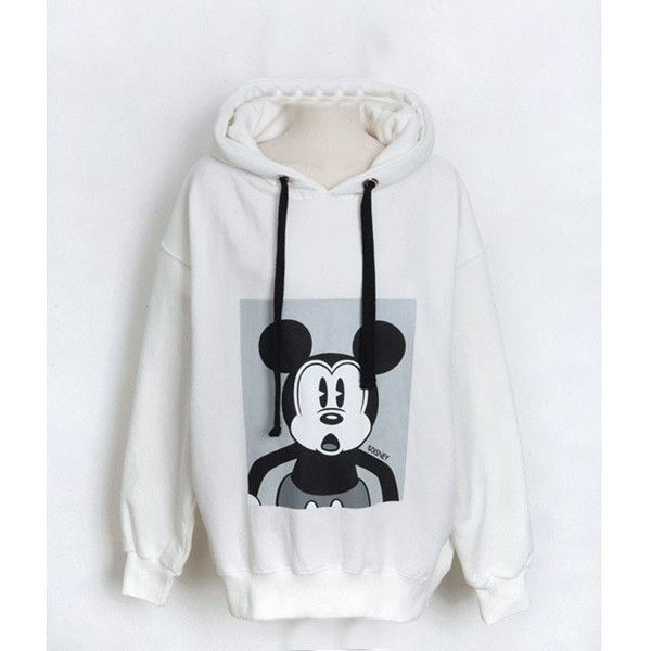 White Oversized Mickey Pattern Hoodie 15HD00010 (340 NOK) ❤ liked on Polyvore featuring tops, hoodies, grey, oversized hoodie, white hooded sweatshirt, gray hooded sweatshirt, pattern hoodie and white top
