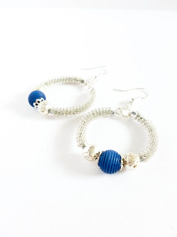 Coiled Wire Earrings Wire Wrapped Earrings with Blue by XennArts, $7.00