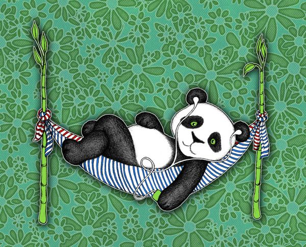 iPod Panda - The Lazy Days Art Print by Micklyn | Society6