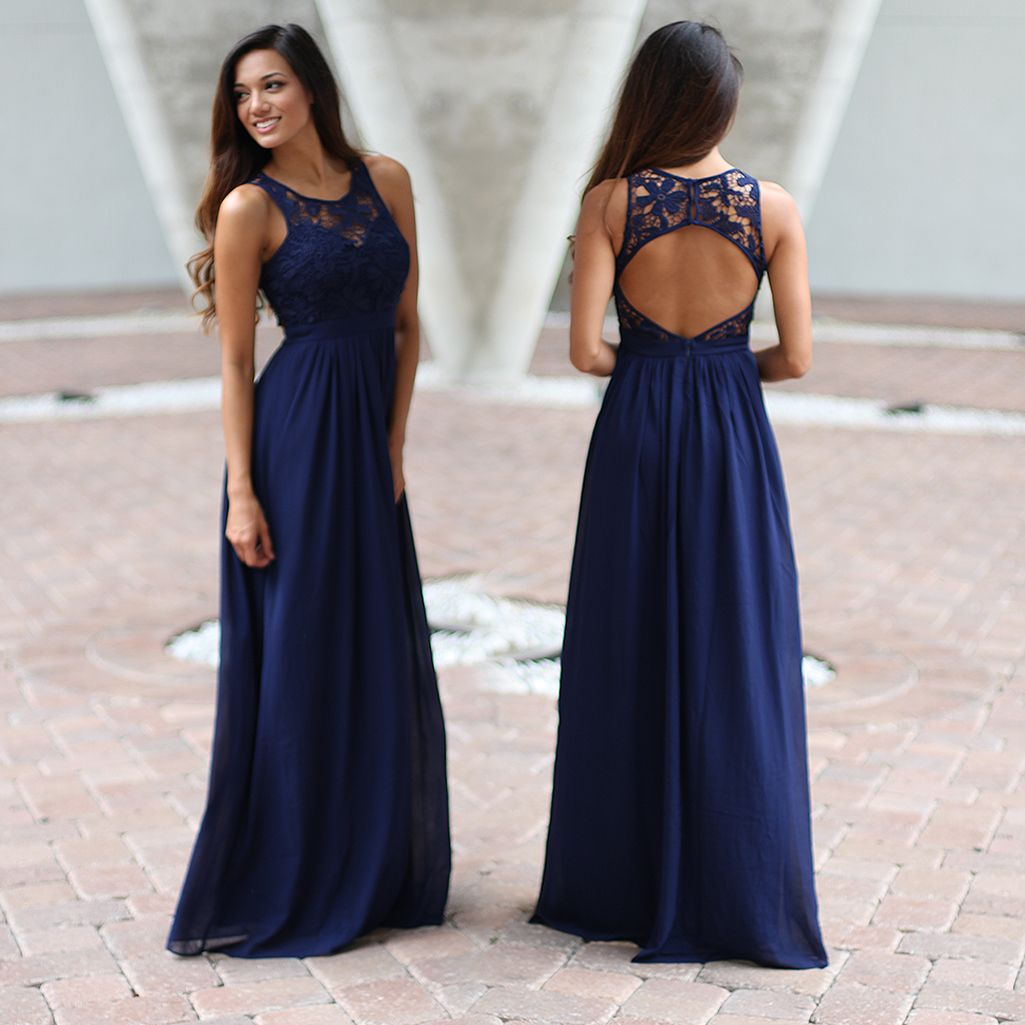 Lace dress maxi  Navy Crochet Maxi Dress with Open Back  Online dress boutiques
