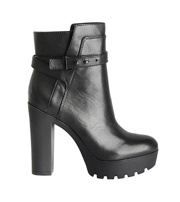 """Pour La Victoire's Emme in black is a beautifully structured lug sole platform bootie in polished calf leather with rounded toe and push ankle strap detail. 1"""" platform, 4 ½"""" heel. Leather."""