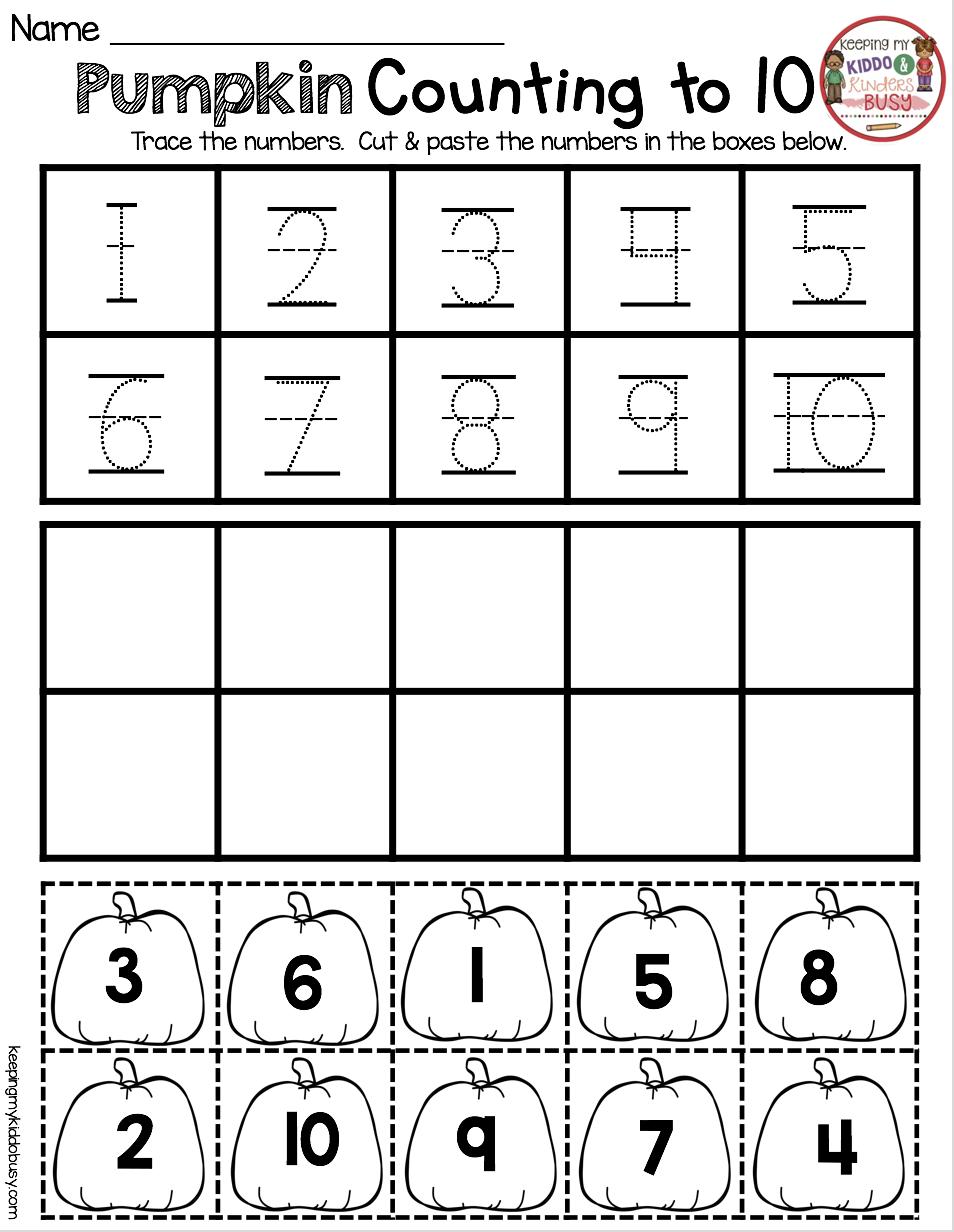 October Math and Literacy Pack FREEBIES Preschool math