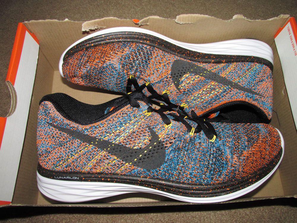 498d3d26efb3 Nike Flyknit Lunar3 Mens Running Shoes 9 Total Orange Blue Lagoon 698181  801  Nike  RunningCrossTraining