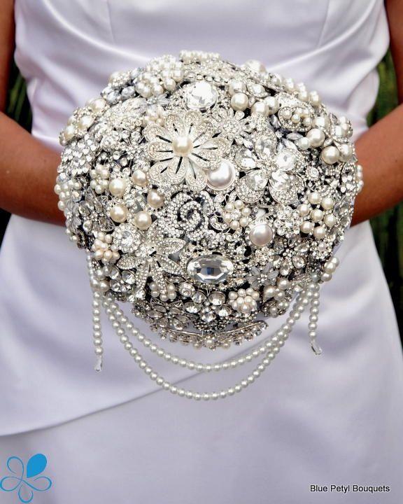d409d0ee8b6aa Cascading Diamante Bouquet #wedding #bouquet   Brooch Bouquets ...