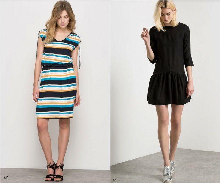 1: Stripes dress+black ankle strap sandals. 2: black dress+silver oxford shoes. Summer outfits 2016
