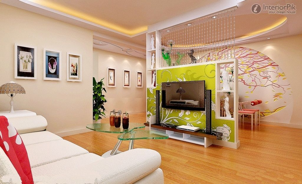 TV Wall In Living Room And Dining Decoration Partition Renderings