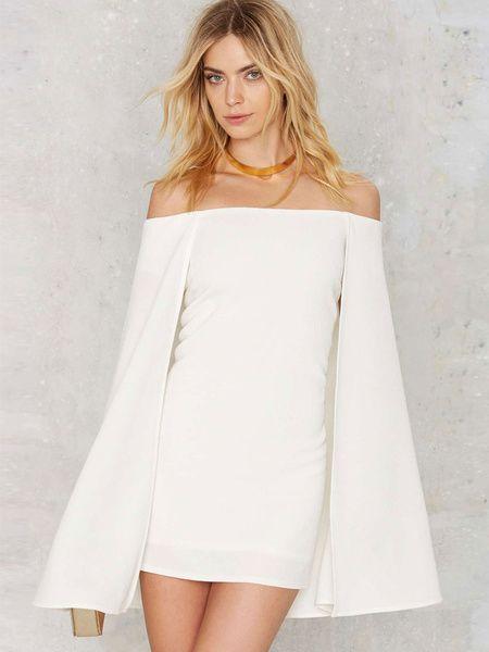 e94f2804f88 Mini White Dress Women's Off Shoulder Long Sleeve Short Bodycon Cape Dress