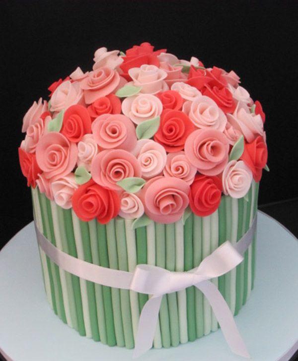 Birthday Flower Cake Cake decor Pinterest Beautiful birthday