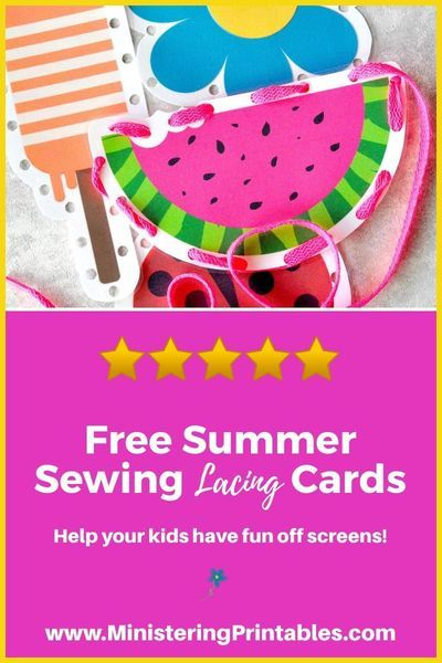 Grab these free summer sewing cards for kids now! Perfect for church bags, or hot summer afternoon. #forkids #kidcraft #kidproject