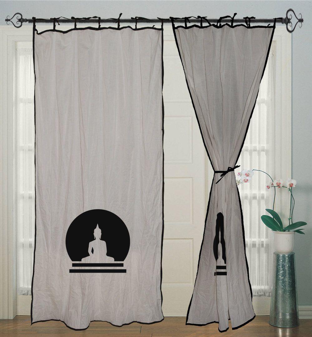 Hand Block Print White Curtain Buddha Cotton Curtain Window