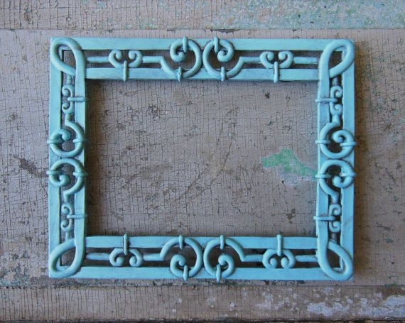 Aqua Blue Metal Painted Picture Frame 5 x 7 by turquoiserollerset, $10.00