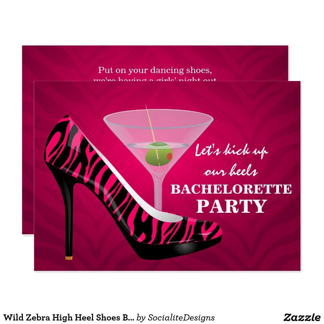 Wild Zebra High Heel Shoes Bachelorette Party Invitation | Pinterest ...