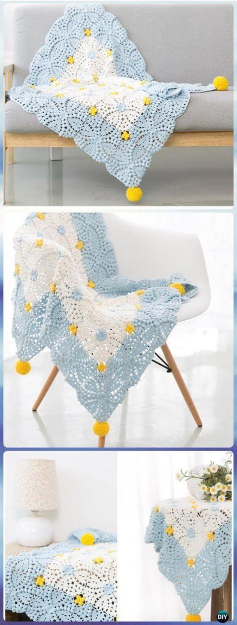 Crochet Pearl Flower Popcorn Square Motif Free Patterns [Video ...
