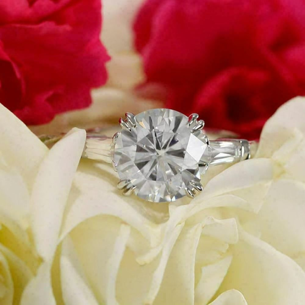 Round VVS1 Diamond 14k White Gold Over Solitaire 3 Stone Engagement Ring Ladies