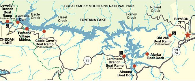 map of fontana lake nc Fontana Lake Boat Ramps And Map Fontana Lake Fontana Lake Map map of fontana lake nc