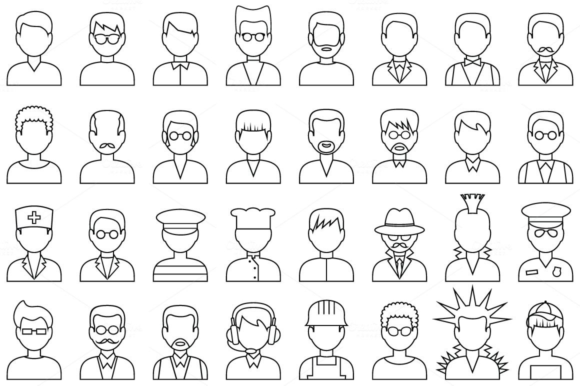 People outline avatar icons by GurZZZa on Creative Market