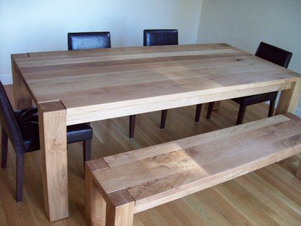 White Oak Dining Table And Bench Oak Dining Table Diy Dining