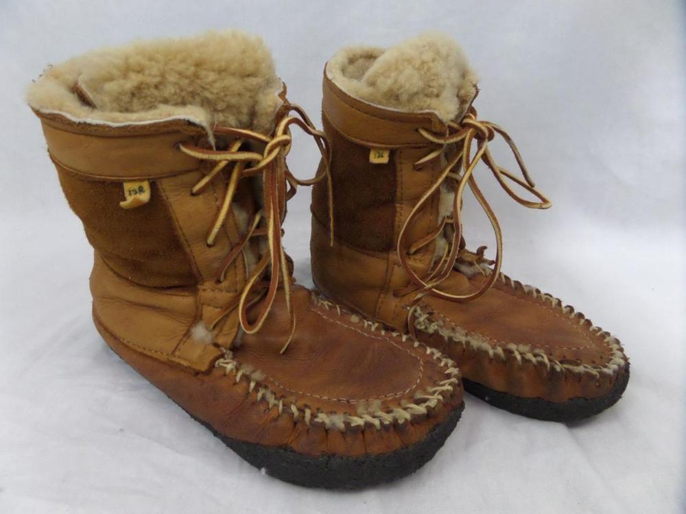 223491d4135 Mens HANDMADE Fur Boots SHEARLING Leather ESKIMO Inuit Inidan 12 ...