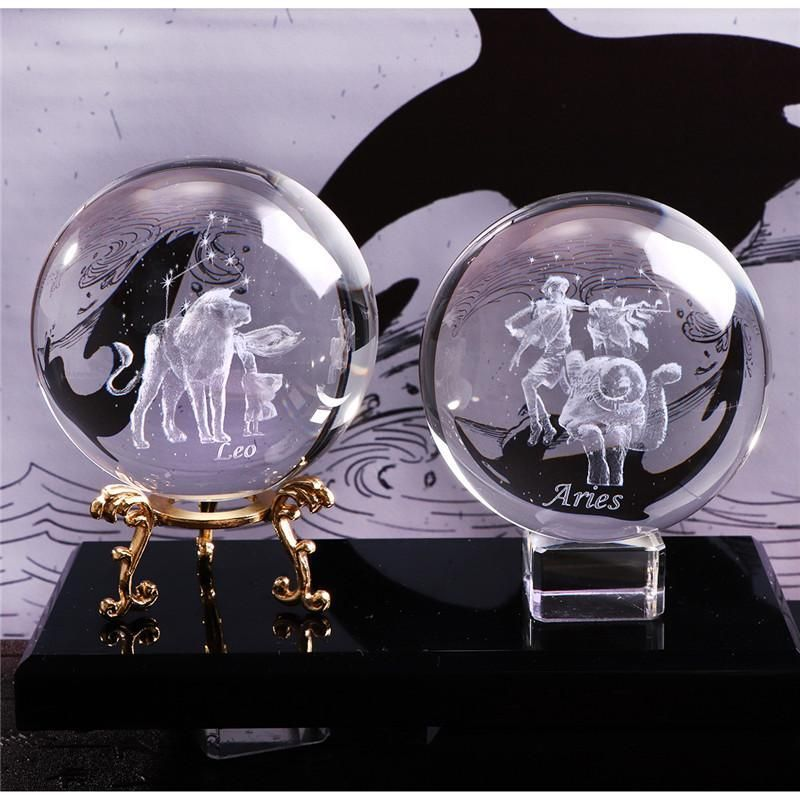 3d Zodiac Crystal Ball In 2020 Crystal Ball Laser Engraved Gifts Engraved Crystal