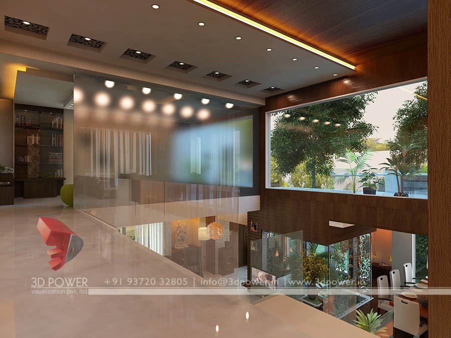contemporary home interior design rendering | false ceiling ...