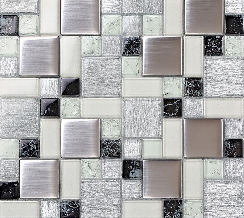 Metallic Backsplash Tile Brushed Stainless Steel Metal Tiles Crackle ...