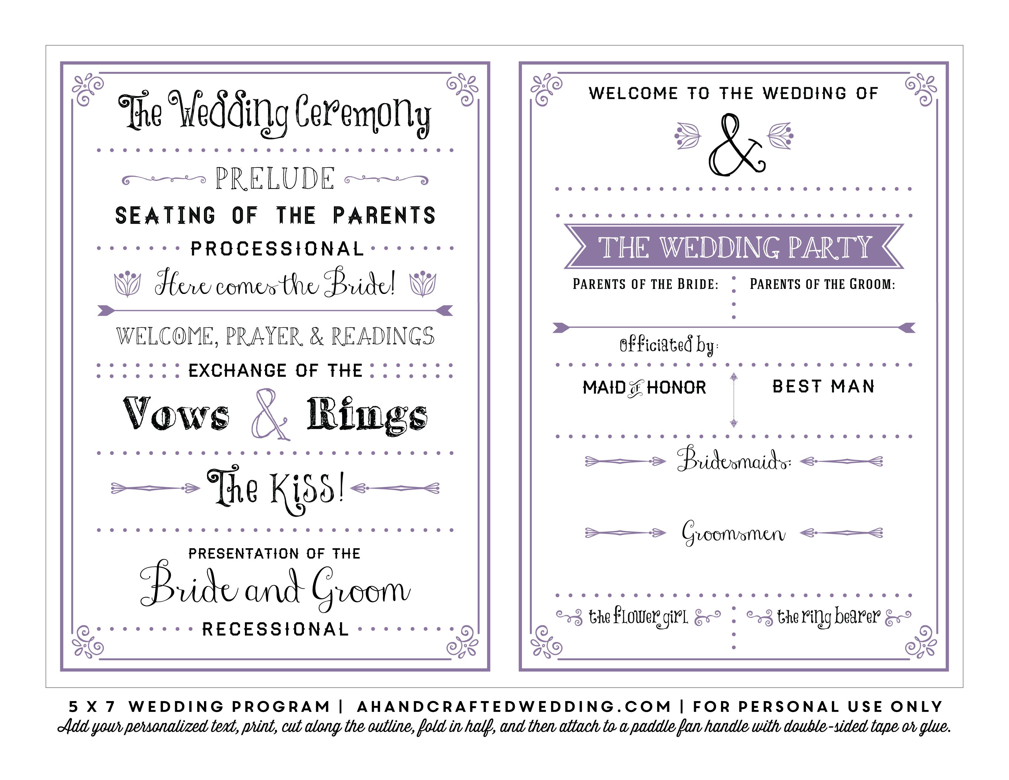 Lavender Printable Diy Wedding Program Fan Ahandcraftedwedding 011