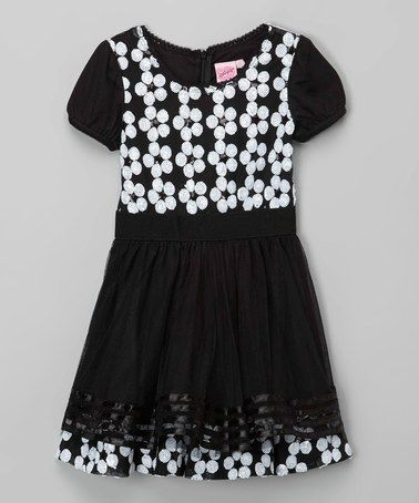 042fc82e Look at this #zulilyfind! Black & White Sequin Daisy Dress - Girls ...