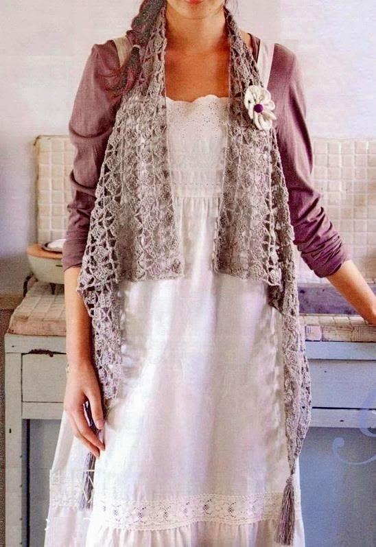 Bufanda Chaleco Crochet Patron - Patrones Crochet | Labores ...