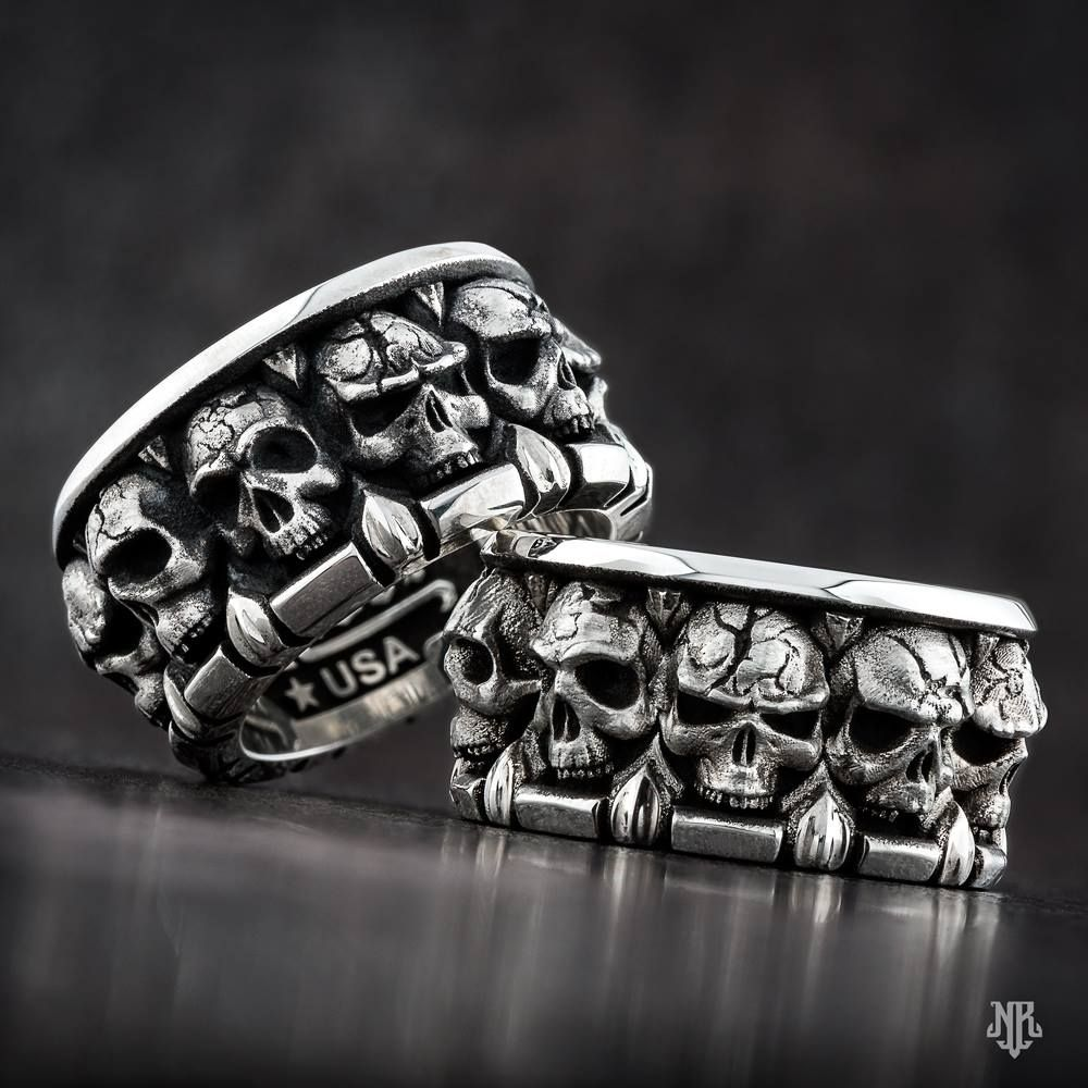 All in the Family Band Skull wedding ring, Skull jewelry