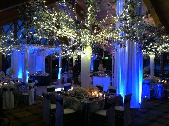 Wedding uplighting tree string lighting for your indoor - Indoor string light decoration ideas ...