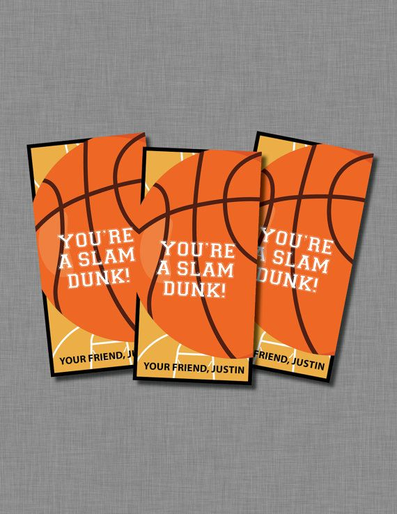 Basketball Valentines cards boy girl Printable Customized – Basketball Valentine Cards