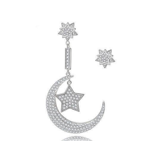 Fashion star moon cz diamond studs