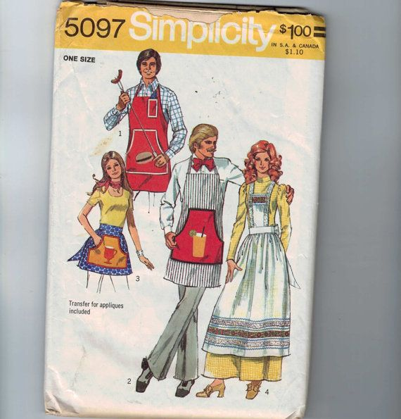 1970s Vintage Sewing Pattern Simplicity 5097 Misses and Mens ...