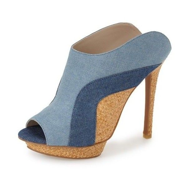 e0f97f698912 Denim Joint Platform Peep Toe Stiletto Heel Mules for Party