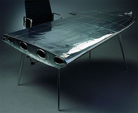 An airplane wing for a desk - now that is cool! Although my ...