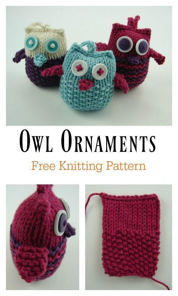 Owl Ornaments Free Knitting Pattern