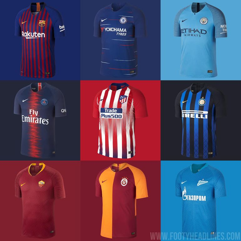 6b41d41fa57 Barcelona, Chelsea, Manchester City, PSG, Atletico, Inter, Roma,  Galatasaray & Zenit: Nike 18-19 Home Kits Released - Footy Headlines