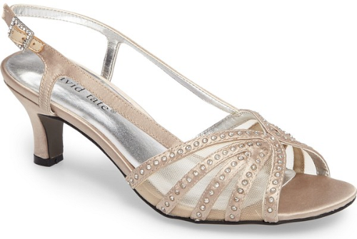 b48cf3b10698 David Tate Sizzle Slingback Sandal in Yellow. An elegant kitten heel gently  lifts a strappy slingback sandal embellished with sparkling crystals.