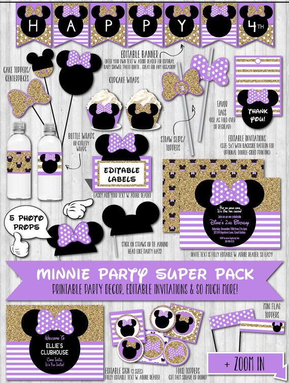 Instant download gold glitter purple minnie mouse party for 1st birthday decoration packs