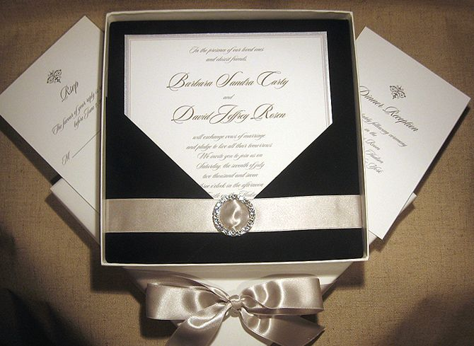elegant wedding invitations with crystals | black tie wedding, Wedding invitations