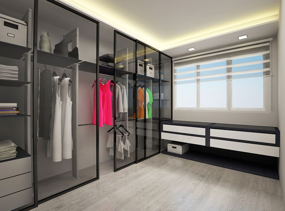 Fernvale Modern HDB Interior Design Walk In Wardrobe Like The Double Stacking Of Hanger Space Sliding Doors Save Floor But You Cant Open Whole