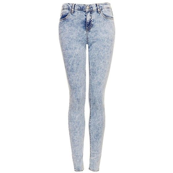 Women's Topshop Moto 'Leigh' Acid Wash Skinny Jeans (€37) ❤ liked on Polyvore featuring jeans, pants, bottoms, topshop, blue acid wash jeans, faded blue jeans, acid jeans and skinny leg jeans