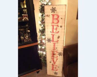 Vertical Distressed Red and Brown Believe sign with by SQSIGNCO