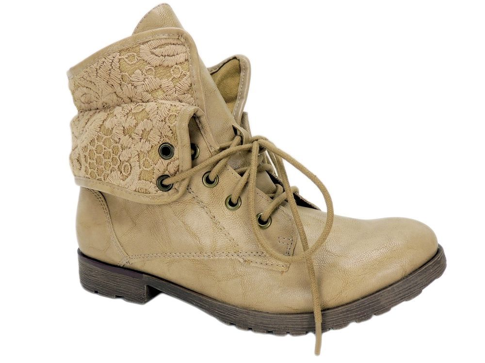 11b0bfe9ccec ZIGI Rock   Candy Women s Spraypaint Combat Booties LT Taupe Cuffed Size 9 M