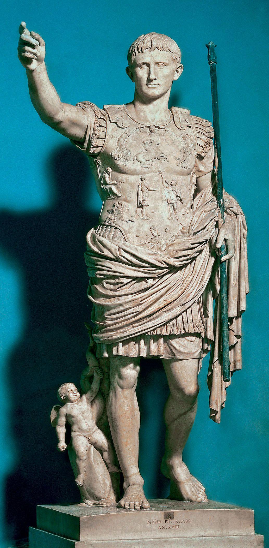 "Augustus of Primaporta, ca 20 ce marble 6' 8"" Gods of the ..."