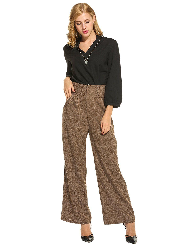 29e9cdeeb7f 1920s -1940s Wide Flare Leg High Waist Zipper Solid Long Pants